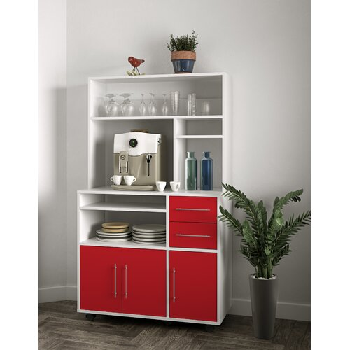 High Microwave Kitchen Trolley Ebern Designs Finish: White/Red