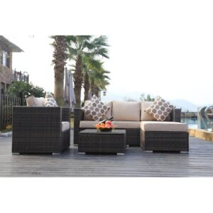 Luitwin Garden Furniture 5 Seater Rattan Sofa Set with Cushions Kampen Living Cushion Colour: Brown/Beige