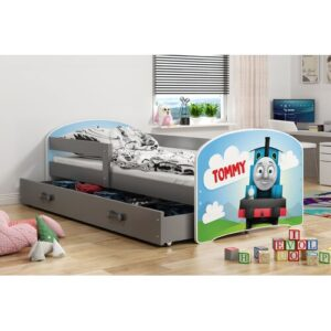 Luki Tommy European Toddler Cabin Bed with Drawer BMS Group Bed frame colour: Grey/Brown/Blue