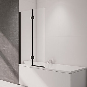 Nexa By Merlyn 8mm 2 Panel Square Hinged Black Bath Screen - 1500 x 900mm