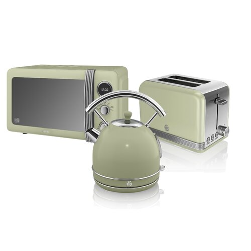 Retro 20 L 800W Countertop Microwave with 2 Slice Toaster and Kettle Swan Colour: Green