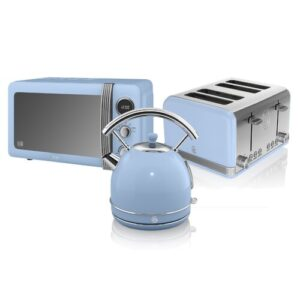 Retro 20 L 800W Countertop Microwave with 4 Slice Toaster and Kettle Swan Colour: Blue