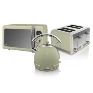 Retro 20 L 800W Countertop Microwave with 4 Slice Toaster and Kettle Swan Colour: Green