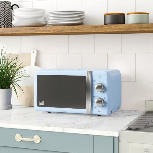 Retro 20L 800W Countertop Microwave Swan Colour: Blue