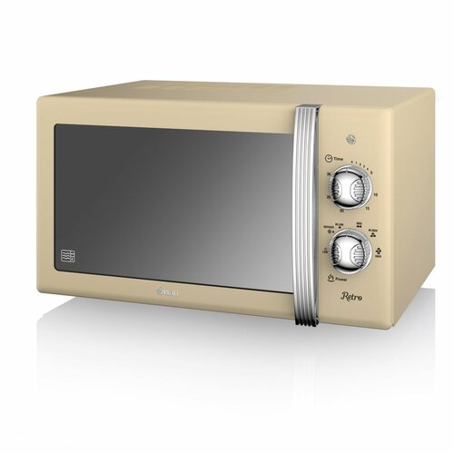 Retro 20L 800W Countertop Microwave Swan Colour: Cream