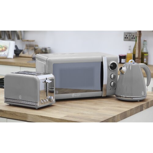 Retro 3 Piece 20L 800W Countertop Microwave with 2 Slice Toaster and Kettle Swan Colour: Grey