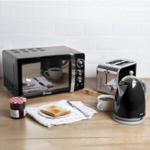 Retro 3 Piece 20L 800W Countertop Microwave with Kettle and 2 Slice Toaster Swan