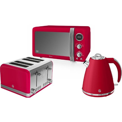 Swan 1.7 L 800W Countertop Microwave Swan Colour: Red
