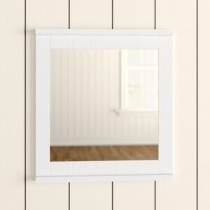 Wall Mounted White Wood Mirror Brambly Cottage