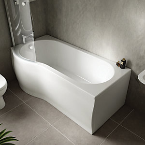 Wickes Valsina P Shaped Reversible Shower Bath Front Panel - 1675 x 510mm