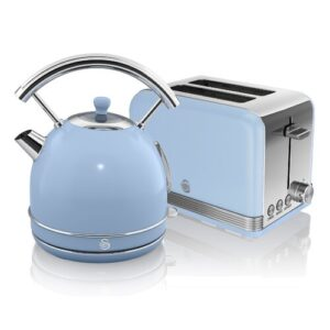 1.8 L Electric Kettle with 2 Slice Toaster Swan Colour: Blue