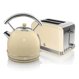 1.8 L Electric Kettle with 2 Slice Toaster Swan Colour: Cream