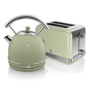 1.8 L Electric Kettle with 2 Slice Toaster Swan Colour: Green