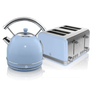 1.8 L Electric Kettle with 4 Slice Toaster Swan Colour: Blue