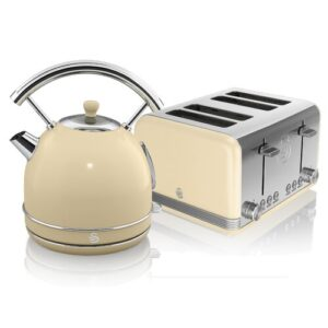1.8 L Electric Kettle with 4 Slice Toaster Swan Colour: Cream