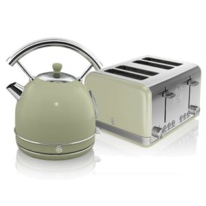 1.8 L Electric Kettle with 4 Slice Toaster Swan Colour: Green