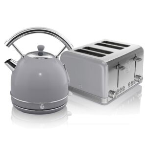 1.8 L Electric Kettle with 4 Slice Toaster Swan Colour: Grey