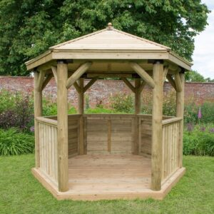 3.5 x 3m Wooden Gazebo with Timber Roof Sol 72 Outdoor