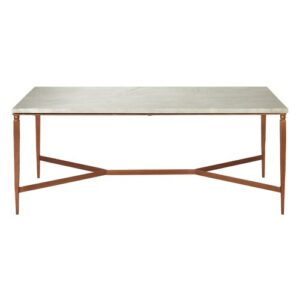 Acadia White Marble Top Coffee Table Canora Grey
