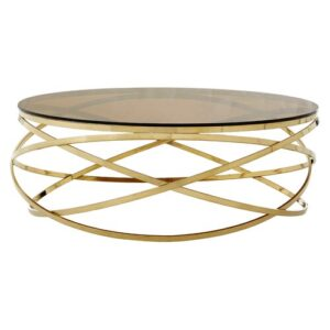 Aguilera Round Coffee Table Canora Grey Colour: Gold