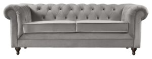 Argos Home Chesterfield 3 Seater Velvet Sofa - Light Grey
