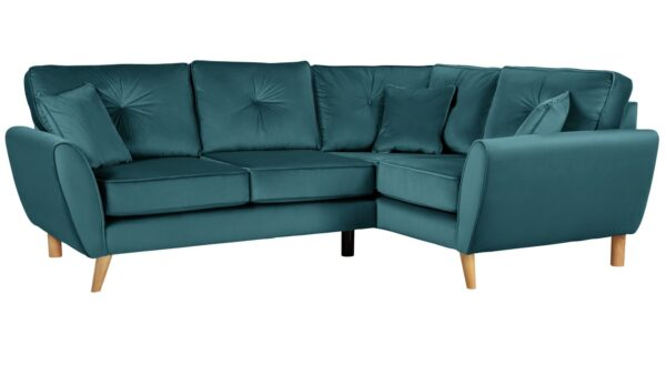 Argos Home Isla Right Corner Velvet Sofa - Teal
