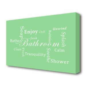 'Bathroom Quote Bathroom Tranquility' Textual Art Print on Canvas in Green East Urban Home Size: 81.3 cm H x 121.9 cm W