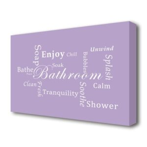 'Bathroom Quote Bathroom Tranquility' Textual Art Print on Canvas in Purple East Urban Home Size: 81.3 cm H x 121.9 cm W