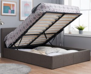 Berlin Grey Fabric Ottoman Storage Bed Frame - 4ft Small Double
