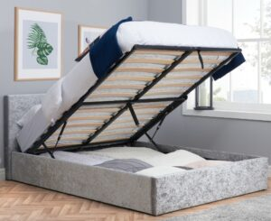 Berlin Steel Crushed Velvet Fabric Ottoman Storage Bed - 5ft King Size
