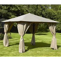 Bracken Outdoors Venice Heavy Duty Square Garden Gazebo 3 x 3m Mocha