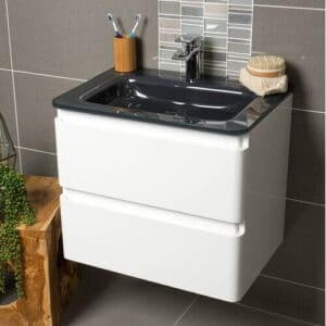Bridge 600mm Wall Hung Single Vanity Unit Belfry Bathroom Base Finish: Grey, Sink Finish: Grey