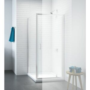 Caribou 6mm Impact Resistant Glass Fixed Shower Screen Belfry Bathroom Size: 190cm H x 97cm W