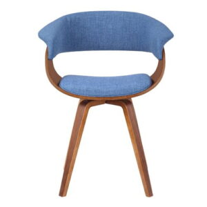 Chacko Upholstered Dining Chair Langely Street Upholstery Colour: Blue, Frame Colour: Walnut