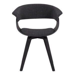 Chacko Upholstered Dining Chair Langely Street Upholstery Colour: Charcoal, Frame Colour: Black