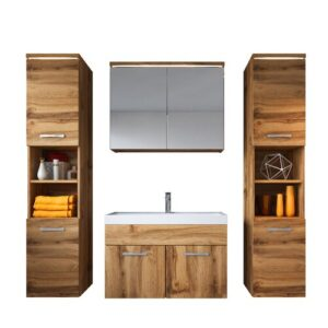 Charton 4 Piece 800mm Bathroom Furniture Suite Belfry Bathroom Furniture Finish: Dark Wood