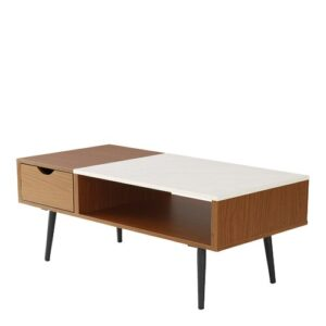 Cirillo Wood and Faux Marble Coffee Table Langely Street Table Base Colour: Acorn