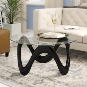 Coffee Table Wade Logan Base Finish: Black
