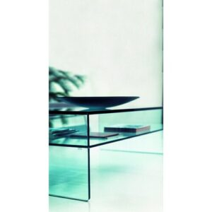 Coffee Table with Magazine Rack Wade Logan Size / Finish: 40 cm H x 100 cm W x 60 cm D / Clear Glass