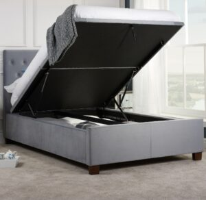 Cologne Grey Fabric Ottoman Storage Bed - 5ft King Size