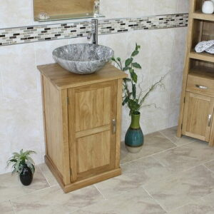 Cottrill Compact Solid Oak 500mm Free-Standing Vanity Unit Belfry Bathroom Sink Finish: Grey Marble