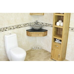 Couch Compact Solid Oak 550mm Free-Standing Vanity Unit Belfry Bathroom Top Finish: Black Quartz, Sink Finish: Grey Marble