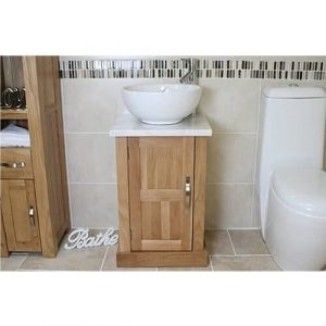 Counts Compact Solid Oak 500mm Free-Standing Vanity Unit Belfry Bathroom Top Finish: White Marble