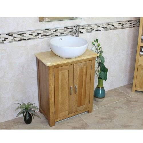 Cournoyer Compact Solid Oak 650mm Free-Standing Vanity Unit Belfry Bathroom Top Finish: Golden Onyx