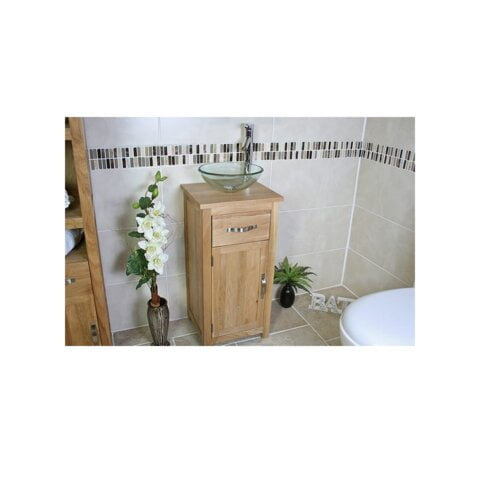 Cowgill Compact Solid Oak 400mm Free-Standing Vanity Unit Belfry Bathroom