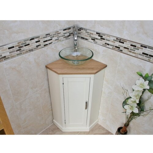 Crandon Compact Solid Oak 390mm Free-Standing Vanity Unit Belfry Bathroom
