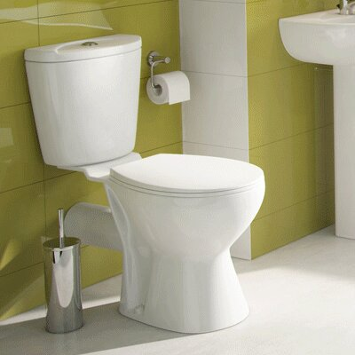 Dagmar Close Coupled Toilet with Button Flush and Soft Close Seat Belfry Bathroom