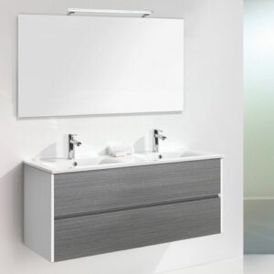 Daugava 3-Piece Bathroom Furniture Set with LED Mirror Belfry Bathroom Furniture Finish (Front / Body): Grey Wood / White