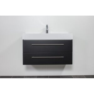 Design 900mm Wall Mount Vanity Unit Belfry Bathroom Base Finish: Black Semi Gloss