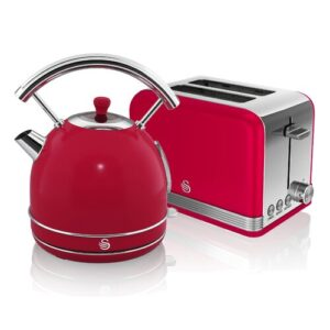 Dome 1.8L Stainless Steel Electric Kettle Swan Colour: Red